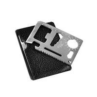 açık kart bıçağı toptan satış-11 1 Çok Araçları Avcılık Kamp Survival Pocket Knife Kredi Kartı Bıçak Paslanmaz Çelik Açık Havada Dişli EDC Araçları