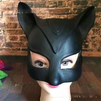 trajes de murciélago negro al por mayor-Funny Catwoman máscara negro media cara Sexy Cat cubierta de la cabeza femenina para Halloween etapa Cosplay traje Bat máscaras populares 31 Zp BB