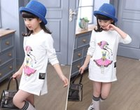 Wholesale teenagers girls clothes for sale - Group buy 5 T girls Long T shirt dress for Teenagers Girls School Clothing Wear Girls top T shirt Character baby kids clothing