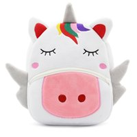 Wholesale wholesale animal backpacks - Toddler Unicorn Backpack Cartoon School Bag Plush Bookbag Zoo School Bag Little Girls Boys Animal Backpacks