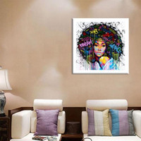 Wholesale african oil paint for sale - Group buy Modern Abstract Handpainted Oil Painting African Girl Portrait on Canvas Wall Decor Multi Sizes Framed p185
