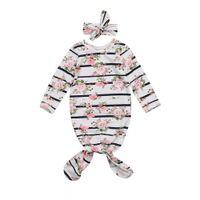 bebé durmiendo mameluco al por mayor-Bebés Recién Nacidos Bebés Trajes Saco de dormir Floral Diadema Rompecabezas 2 Unids Ropa