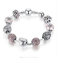 Wholesale Channel Flower - BAMOER Antique Silver Charm Bracelet & Bangle with Love and Flower Crystal Ball Women Wedding Valentine's Day Gift PA1455