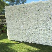 ingrosso viola fiori bianchi secchi-60X40 CM Romantico Artificiale Rosa Hydrangea Flower Wall per la fase della festa di nozze e decorazione di sfondo Molti colori