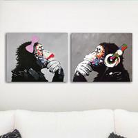 decoração da parede do macaco venda por atacado-2 Pcs Música Macaco Canvas Wall Art HD Impressão Pintura A Óleo Poster Imagem Escritório Home Decor Unframed