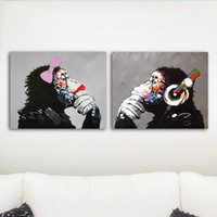 Wholesale pictures abstract art paintings for sale - 2Pcs Music Monkey Canvas Wall Art HD Print Oil Painting Poster Picture Office Home Decor Unframed