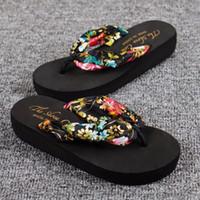 zapatillas bohemias al por mayor-Zapatillas de mujer Zapatillas de moda de verano Tela de satén bohemia Plataforma gruesa Cuñas Sandalias
