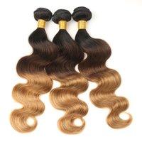 sarışın brazilian dalga saç paketleri toptan satış-Ombre 4 Paketler Brezilyalı Vücut Dalga Ombre sarışın İnsan Saç Paketler T1B / 4/27 Olmayan Remy Saç Uzantıları Sarışın Demetleri