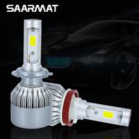 Wholesale 881 bulb - Pair 9600LM w  COB Chips H1 H3 H4 H7 H8 H9 H11 H16(JP) 880 881 9005 HB3 H10 9006 HB4 9012 Car LED Headlight Kit Bulbs Fog light 6000K White