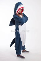 pijamas de mono de anime al por mayor-Kigurumi Adultos Onesies Unisex Fleece Animal Shark Pijamas Novedad Ropa de Dormir Pijamas Mono Ropa de dormir Carnaval Cosplay Disfraces