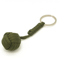 Wholesale Parachute Balls - Emergency Security protection Black Monkey Fist Wood Ball Self Defense parachute Lanyard Survival Outdoor Camping key chain