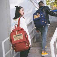 Wholesale New street trend Korean canvas shoulder bag large capacity travel backpack student bag men and women bag