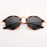 gafas de color tortuga al por mayor-Bolo.ban 2447 gafas de sol de lente redonda gafas de sol de 49 mm espejo de tortuga gafas de sol gafas de sol Gafas UV400