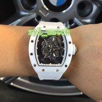 relógio oco branco venda por atacado-A melhor venda do mundo dos homens de luxo Assista Cerâmica Bezel Branco Strap Rubber Watch Oca Automatic Mechanical Watch