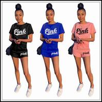 Wholesale T Shirt Denim Women - 3 Colors PINK Letter Women Clothing Shorts Tracksuit T-Shirt Top Tees + Drawstring Shorts Pants Two Pieces Set Summer Outfit CCA9899 12set