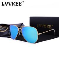 ingrosso bicchieri temperati blu-Hot LVVKEE 2018 Classic Mirror Occhiali da sole Uomo / Donna Colorful Reflective 58mm Lenti in vetro temperato Occhiali Accessori Occhiali da sole