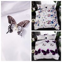 Wholesale purple quilt king - Colorful Butterfly Quilt Doona Duvet Cover Set Single Queen King Size Bed Covers Set Linen Free Shipping