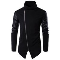 casacos de malha venda por atacado-Helisopus Outono Homens Jaquetas Casaco de Inverno PU de Couro de Manga Longa Turtlrneck Casacos de Slim Estilo de Moto de Moto Homens casuais