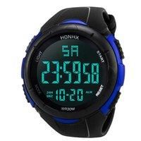 ingrosso orologio di allarme analogico-Orologio da polso da uomo impermeabile analogico digitale di sport di esercito LED Digital Alarm Watch da polso impermeabile