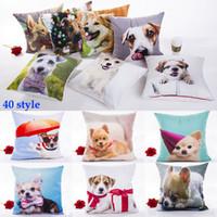casos de perro 3d al por mayor-3D Cat Dog Funda de almohada de impresión Navidad Cartoon Animals Funda de almohada Home Sofa Car Funda de almohada decorativa Sin núcleo 40 estilo WX9-864