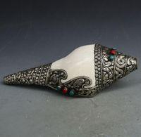 ingrosso turchese antico tibetano-Antiquariato, antiquariato, miscellaneo, artigianato nepalese, rame bianco, argento, turchese, conchiglia, beni tibetani, collezione di vecchi oggetti