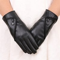 Wholesale warm leather gloves resale online - 2018 Fashion Women PU Leather Gloves Lace Button Decoration Touch Screen Gloves Warm Driving Cycling Guantes Mujer