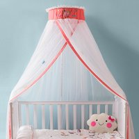 mosquito net canopy for cribs Canada - Baby Crib Netting Princess Dome Bed Canopy Children Bedding Round Lace Mosquito Net For Baby Sleeping Toddler Crib Canopy Infant