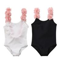 ingrosso swimwear del bambino del neonato-New Toddler Infant Bambino Bambini Neonate 3D Floreale Solid Swimwear Costumi da bagno Beachwear Backless One Piece Outfit 2-7T