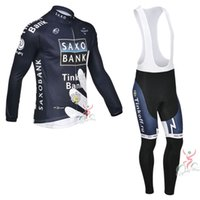 Wholesale cycling online - SAXO BANK TINKOFF Cycling long Sleeves jersey bib pants sets With D Gel Padded Autumn Style For Men Bike Wear Size XS XL