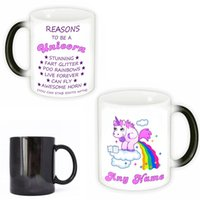 Wholesale magic cup heat - Cartoon Unicorn Tumbler Heat Resisting Ceramic Cups Magic Temperature Sensing Color Change Coffee Mug New 15yya C R