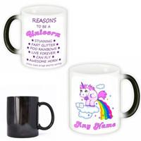 isı renk değiştiren kupalar toptan satış-Karikatür Unicorn Tumbler Isı Dayanıklı Seramik Bardak Sihirli Sıcaklık Algılama Renk Değişimi Kahve Kupa Yeni 15yya C R