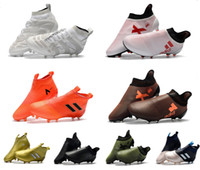 Wholesale ankle boots 12 - 2018 hot ACE 17+ Purecontrol FG Football Soccer Boots No Lace Cheap Botas de Futbol Chuteira Mens Soccer Cleats High Ankle Top Soccer Shoes