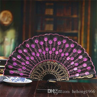 Wholesale curtains for blue living room resale online - Colourful Folding Fan Peacock Tail Sequins Dance Fans Stage Performance Prop Gift For Mun Hot Sale sz ff