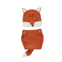 Wholesale photo prop baby boy clothing for sale - Group buy New Newborn Baby Boys Girls Orange Sweater Wool Blend Fox Photo Props Outfits Set Bebes Clothes M