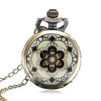 Wholesale enamel pocket watches - Fashion Flower High Quality Women Watch Necklace Chain Beautiful Flower Small Design Enamel Quartz Pocket Watch Gifts Women Girl
