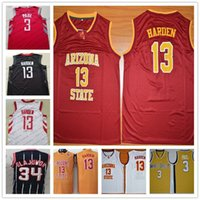 Wholesale men s basketball 13 - Wake Forest Chris Paul Arizona State Sun Devils James Harden Red Black White Hakeem Olajuwon Navy Retro College Basketball Jerseys