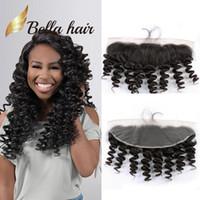 saçlı ön kapak toptan satış-Bella Hair® 13x4 Kulağa Malezya Dantel Frontal Kapatma Saç Adet 8A Doğal Renk Gevşek Dalga İnsan Saç Uzantıları Ücretsiz Nakliye
