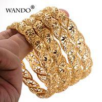 pulseiras de pulseira de ouro africano venda por atacado-WANDO 4 pçs / lote etíope cor de ouro pulseira de casamento para mulheres pulseira de noiva jóias africanas itens do Oriente médio B22