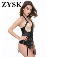 e5cbe9e43c Black Steampunk Leather Gothic Bustiers Corsets Open Bra Sexy Lingerie Hot Women  Corset Sexy Lace Up Thong Bustier Corselet Tops