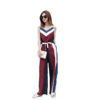 pantalon en mousseline de soie coréenne achat en gros de-Été nouvelle version coréenne en mousseline de soie combinaison féminine 2018 pantalon large à jambes larges lâche Vintage Sling une pièce