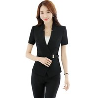 Wholesale Ladies Short Sleeve Office Suits - 2018 Women's Suits and Trousers Short Sleeve Jacket Blazer 2 Pieces Office Lady Slim Pant Suits ow0318