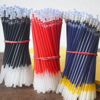 jel kalem mavi mürekkep toptan satış-100 adet / grup 0.5mm Nötr Mürekkep Jel Kalem Yedekler Set Iğne / Dolum Kırtasiye Okul Ofis Malzemeleri Siyah Mavi Kırmızı dolum