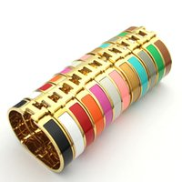 Wholesale Quality H - B37 gold color about 17cm H bangle fashion women titanium high Quality jewelry 12mm width 18K gold plated Glue send with bag for women gift