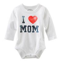 amo la ropa de mamá al por mayor-I Love MOM / DAD Print Infant Toddler Newborn Baby Girl Boy Romper Jumpsuit Camisa de Ropa Nuevo