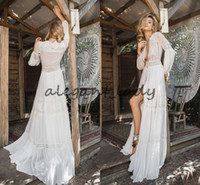 vestidos de boêmio grego venda por atacado-Inbal Raviv 2018 vestidos de casamento de manga longa Crochet Lace Chiffon flare Flare deusa grega praia vestido de noiva boêmio