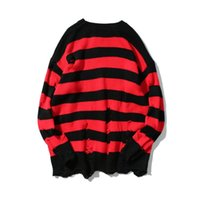 Wholesale knitting two color sleeve sweater - Two colors Mens Ripped Holes Sweater autumn new Vintage oversized high quality Loose Cotton Casual men Pullovers sweater 2018