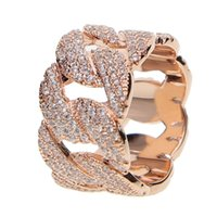 Wholesale micro pave zirconia - Hip Hop Ring Rock Bling Jewelry All Iced out Micro Pave Cubic Zirconia Cuban Chain Ring for Men Gift
