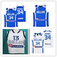 Wholesale Greek S - Custom Throwback Basketball Jerseys #13 GIANNIS ANTETOKOUNMPO 34 ANTETOKOUNMPO G. TEAM GREECE Embroidered Greek Basketball 2016 jersey