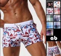 Wholesale men sexy sport shorts - New Pocket Floral Men Swimwear Shorts Sexy Sunga Masculina Men'S Swimming Trunks Men Briefs Bathing Sport Swimsuit