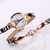 эйфелева башня браслет смотреть оптовых-New  Diamond Watch Women Fashion Eiffel Tower Bracelet Watch Ladies Quartz Lady Hour Montre Femme
